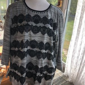 Alfred Dunner XL faux lace striped blouse